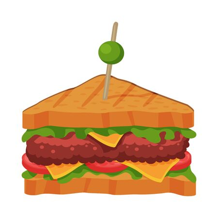 Sandwich with Tomato, Cheese, Meat Patty and Lettuce, Fast Food Meal Vector Illustration on White Background.