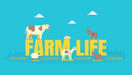 Farm Life Banner Template with Livestock, Farming Agriculture Vector Illustration, Web Design. 向量圖像