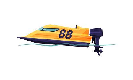 Power Boat or Speedboat, Modern Nautical Motorized Transport Vector Illustration on White Background.