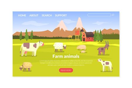 Farm Animals Landing Page Templte, Milk and Dairy Agriculture Products Website, Homepage, Mobile App Vector Illustration, Web Design.