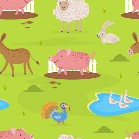 Farm Animals Seamless Pattern, Design Element Can Be Used for Fabric, Wrapping Paper, Website, Wallpaper Vector illustration.