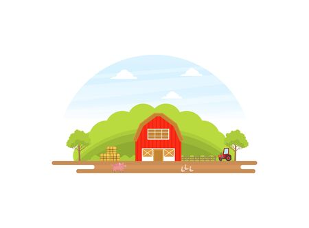 Agriculture and Farming, Summer Rural Landscape with Red Barn, Tractor and Livestock Vector illustration in Flat Style.