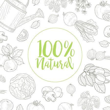 Natural Farm Food Banner Template with Hand Drawn Vegetables Seamless Pattern Vector Illustration, Web Design.