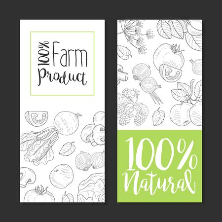 Natural Farm Product Card Template with Hand Drawn Vegetables and Plants Seamless Pattern, Design Element Can Be Used for Farm Market, Restaurant or Cafe Menu, Banner, Flyer, Certificate Vector Illustration. Иллюстрация
