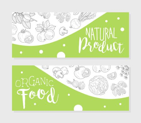 Natural Farm Product Horizontal Banners Templates Set with Hand Drawn Vegetables Seamless Pattern, Design Element Can Be Used for Farm Market, Restaurant or Cafe Menu, Flyer, Certificate Vector Illustration.