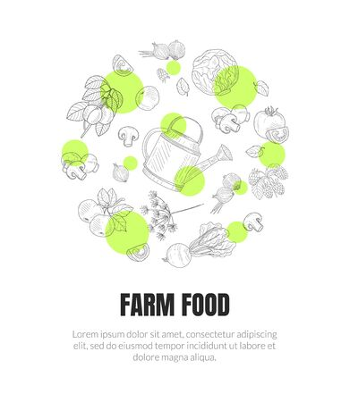 Farm Food Banner Template with Hand Drawn Vegetables Seamless Pattern of Round Shape Vector Illustration, Web Design. Иллюстрация