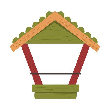 Winter Bird Feeder for Northern Birds Feeding Vector Illustration