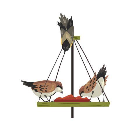 Winter Bird Feeder with Cute Northern Birdies Vector Illustration