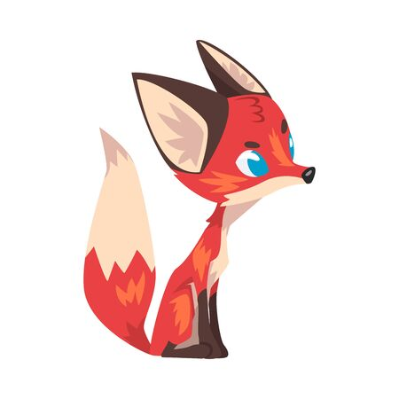 Cute Sitting Little Fox, Lovely Wild Blue Eyed Forest Animal Cartoon Character, Side View Vector Illustration Çizim