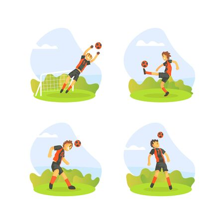 Teenager Boys Playing Football Outdoors Set, Soccer Players Kicking Ball at the Soccer Field Vector Illustration