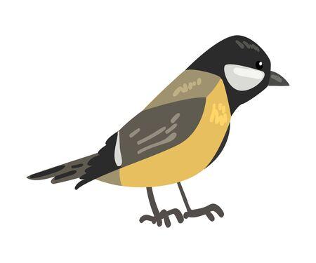 Cute Titmouse Winter Bird, Beautiful Northern Birdie Vector Illustration on White Background.