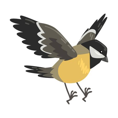 Cute Flying Titmouse Winter Bird, Beautiful Northern Birdie Vector Illustration on White Background.