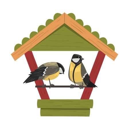 Winter Bird Feeder with Titmouses, Northern Birds Feeding by Seeds in Wooden Feeder Vector Illustration