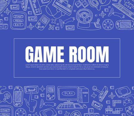 Inscription Games Room. Vector illustration on a blue background.