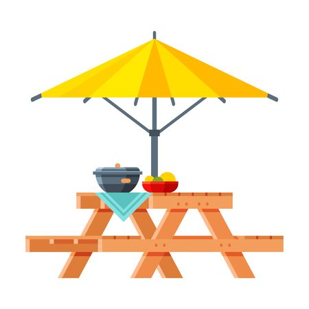 Wooden Table with Benches and Sunshade Umbrella, Modern Garden Furniture Design Flat Vector Illustration