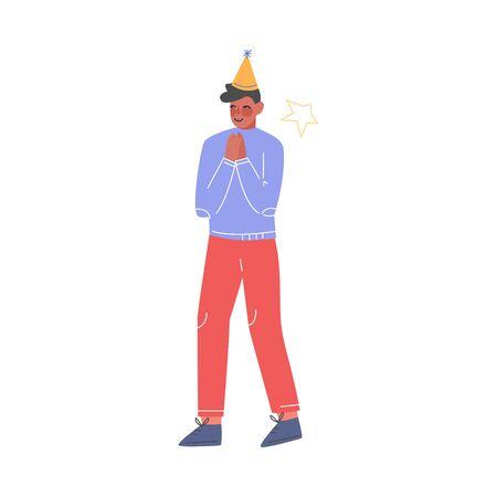 Happy Teenage Boy Wearing Party Hat Celebrating, Birthday, Christmas or New Year Cartoon Vector Illustration 向量圖像