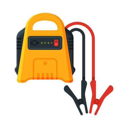 Battery with Electrical Clips, Jump Start Vehicle Cable, Battery Charger Terminal Vector Illustration