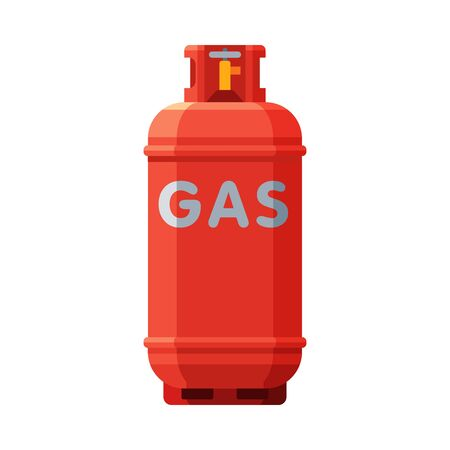 Red Propane Gas Cylinder, Camping Gas Bottle Vector Illustration