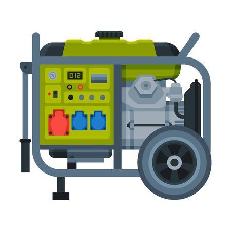 Power Portable Generator, Diesel or Gasoline Electrical Engine Equipment Vector Illustration