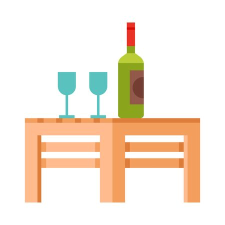Small Wooden Table with Bottle of Wine and Two Glasses, Modern Garden Furniture Design Flat Vector Illustration