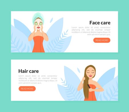 Face and Hair Care Landing Page Template, Cosmetology, Beauty, Spa, Wellness Web Page, Mobile App, Homepage Vector Illustration