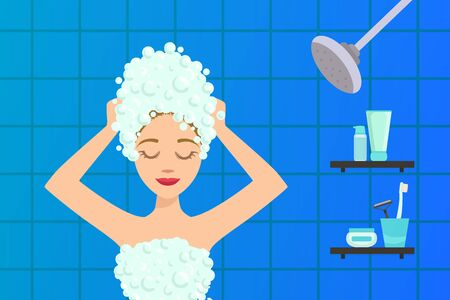 Beautiful Young Woman Washing her Hair with Shampoo in Bathroom Flat Vector Illustration on White Background. Иллюстрация