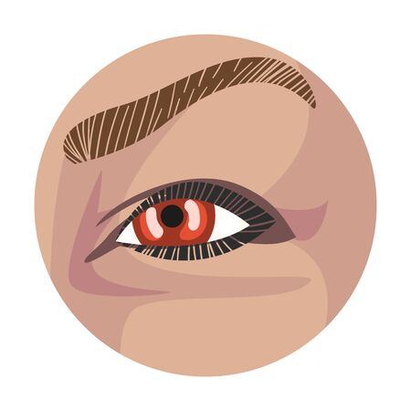 Light Brown Eye in the Circle, Part of Male or Female Face Vector Illustration