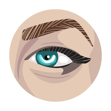 Female Eye in the Circle, Part of Human Face Vector Illustration Illustration