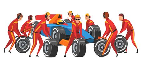Pit Stop Crew Members in Red Uniform Changing Tire Wheels Cartoon Vector Illustration Vecteurs