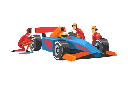 Pit Stop Crew Members in Uniform Changing Tire Wheels, Professional Mechanics Cartoon Characters Vector Illustration