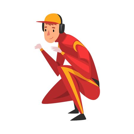 Professional Mechanic Cartoon Character in Red Unifrom, Maintenance of Racing Car Vector Illustration
