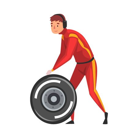 Pit Stop Crew Member Changing Tire Wheel, Maintenance of Racing Car, Professional Mechanic Cartoon Character in Red Uniform and Earphones Vector Illustration