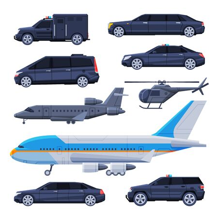 Government Vehicles Set, Black Presidential Auto, Airplane, Helicopter, Luxury Business Transportation Flat Vector Illustration