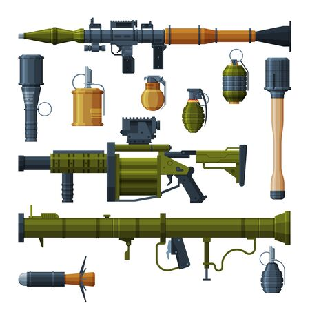 Military Hand Grenade and Bazooka Portable Rocket Launcher Collection, Combat Army Weapon Objects Flat Style Vector Illustration