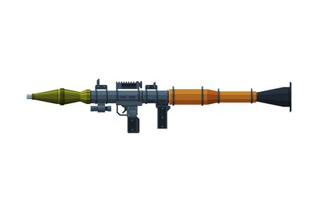 Rocket Launcher, Military Combat Army Weapon Object Flat Style Vector Illustration