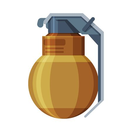 Military Hand Grenade, Combat Weapon Object Flat Style Vector Illustration Illustration
