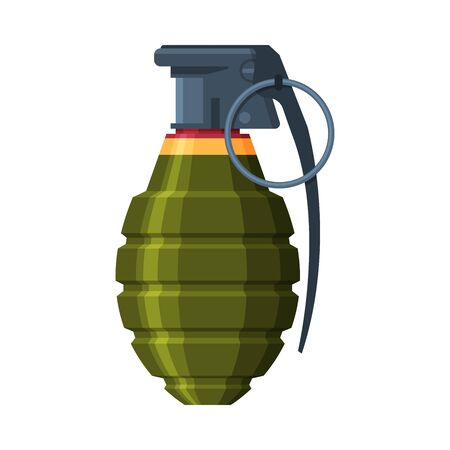 Lemon Shaped Hand Grenade, Military Army Weapon Flat Vector Illustration Illustration