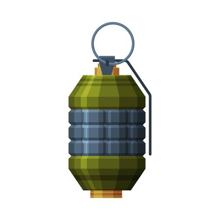 Military Hand Grenade, Retro Combat Weapon Object Vector Illustration