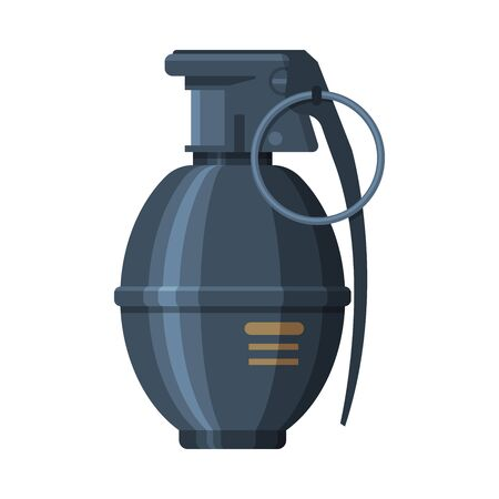 Vintage Hand Grenade, Military Army Weapon Flat Vector Illustration