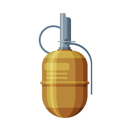 Retro Military Hand Grenade, Combat Army Weapon Object Flat Style Vector Illustration