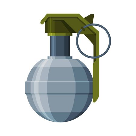 Vintage Combat Hand Grenade, Military Army Weapon Flat Vector Illustration Illustration