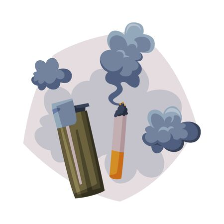 Cigarette Smoke, Air Passive Smoking Pollution Concept Vector Illustration