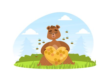 Brown Bear Sitting on Green Lawn and Holding Beehive of Heart Shape, Bees Flying around Him, Cute Wild Animal on Summer Mountain Landscape Vector Illustration.