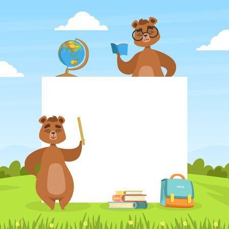 Cute Brown Bears with Blank Banner and School Objects, Back to School Concept Vector Illustration