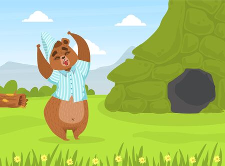 Cute Bron Bear in Pajamas and Cap Standing in front of Den on Summer Mountain Landscape Vector Illustration