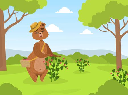 Cute Brown Bear in Straw Hat Collecting Raspberries from Bush into Wicker Basket on Summer Landscape Vector Illustration Иллюстрация
