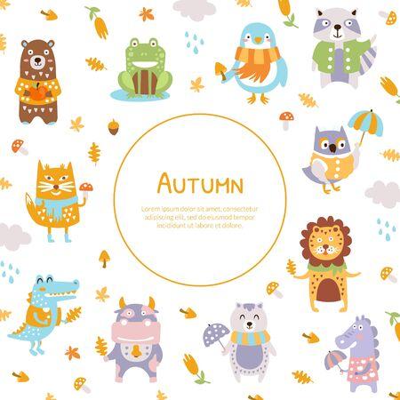 Autumn Banner Template with Cute Wild Animals, Deer, Unicorn, Bear, Hedgehog, Frog, Crocodile Vector Illustration Ilustración de vector