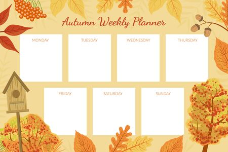 Autumn Weekly Planner Template, Week Calendar Schedule with Bright Autumnal Leaves Vector Illustration