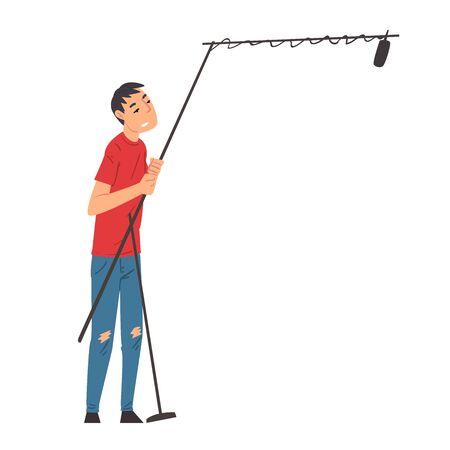 Soundman Holding Telescopic Microphone, Boom Operator in Process of Recording Sound Cartoon Vector Illustration