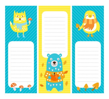 Kids Planner with Cute Wild Animals, Paper for Notes, Notebook Design Elements Vector Illustration Иллюстрация